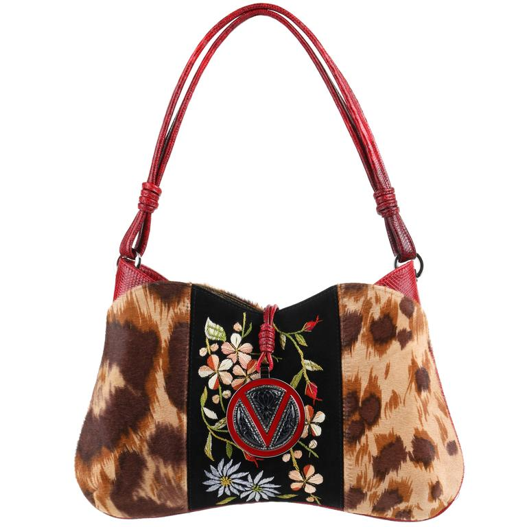 VALENTINO GARAVANI Pony Hair Lizard Skin Leather Floral Embroidered Handbag