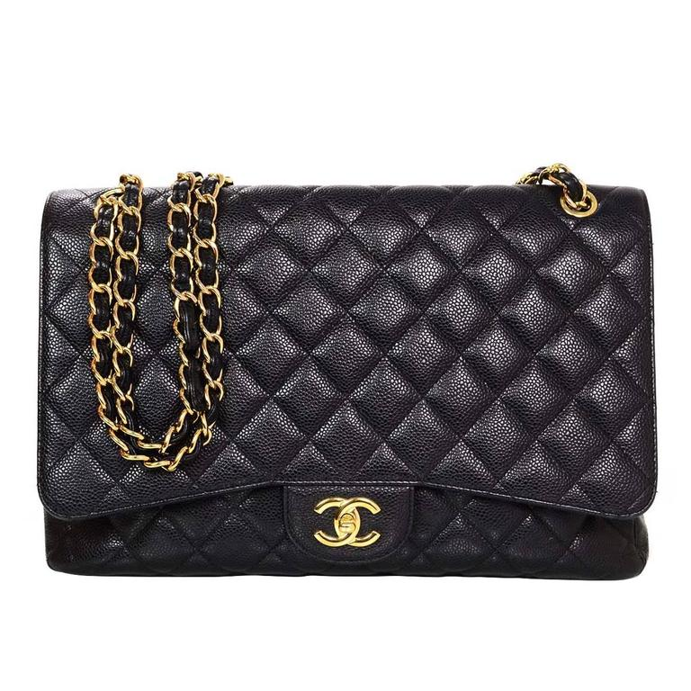 Chanel Black Caviar Leather Quilted Single Flap Maxi Bag GHW rt. $6,000 1