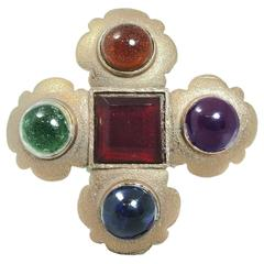 Vintage Classic Chanel Poured Gripoix Glass Brooch