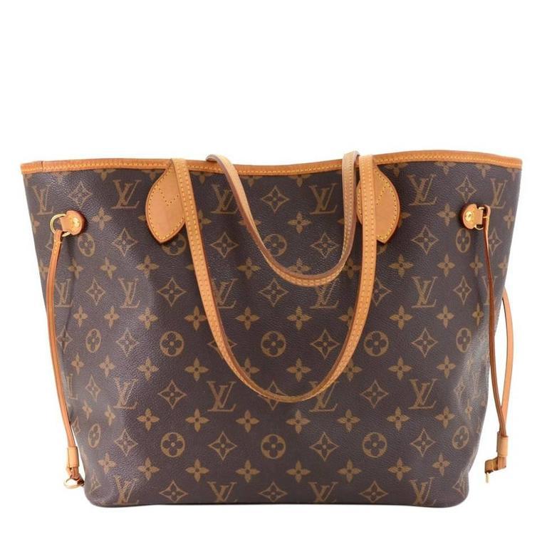 Louis Vuitton Neverfull MM Monogram Canvas Shoulder Tote Bag 1