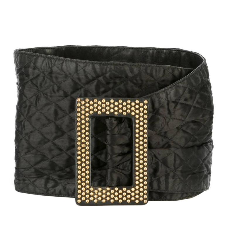Yves Saint Laurent Gold-Studded Black Leather Belt For Sale