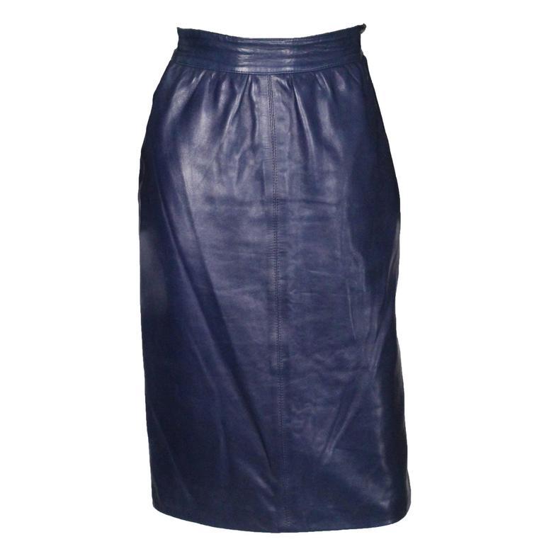 1980s Blue Leather Skirt by Yves Saint Laurent Rive Gauche