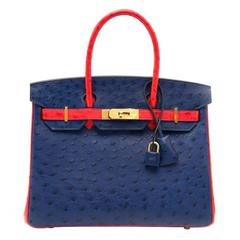 Rare As New Hermes Birkin 30 Ostrich Bicolor Rouge Exotique And Blue Sapphire