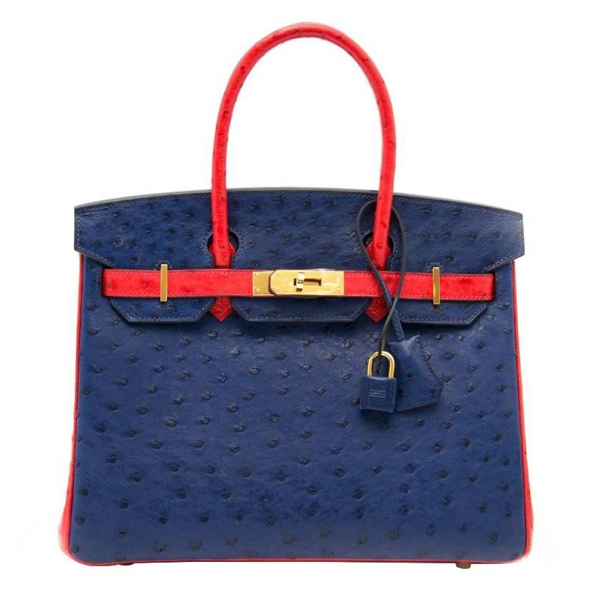 f5a629240946 Rare As New Hermes Birkin 30 Ostrich Bicolor Rouge Exotique And Blue  Sapphire at 1stdibs