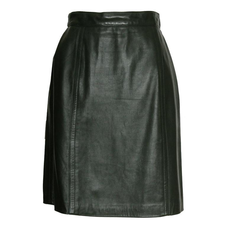 Celine Green Leather Skirt