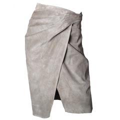 1990s Alaia Suede Wrap Skirt