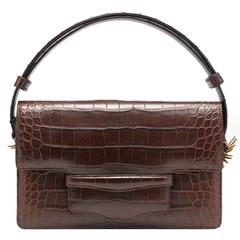 Alligator Clutch Handbag with detachable adjustable strap in Brown