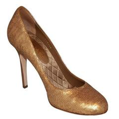 "Chanel Gold Sequin Covered Pumps with ""CC"" Back"
