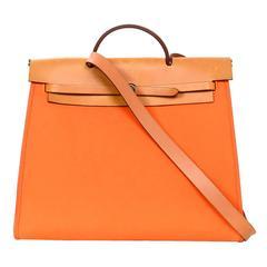 Hermes Orange and Camel Toile Herbag Zip 39