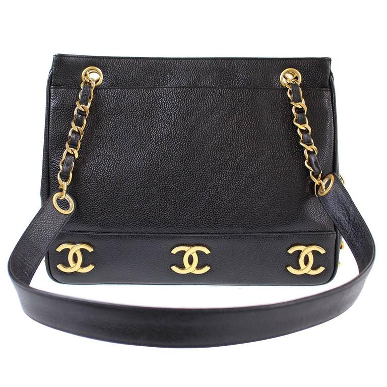 9f694b477e8d Chanel Vintage Black Caviar Leather Gold Charms Chain Shoulder Shopper Tote  Bag For Sale