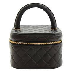 Chanel Vintage Black Lambskin Cosmetic Vanity Travel Evening Top Handle Bag