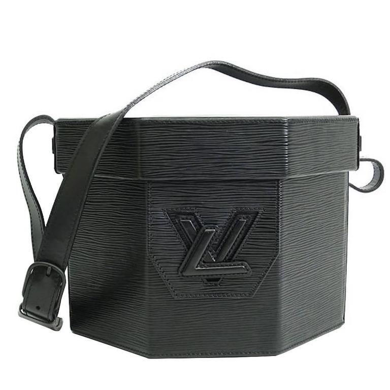 Louis Vuitton Rare Limited Edition Black LV Logo Crossbody Travel Case Bag For Sale