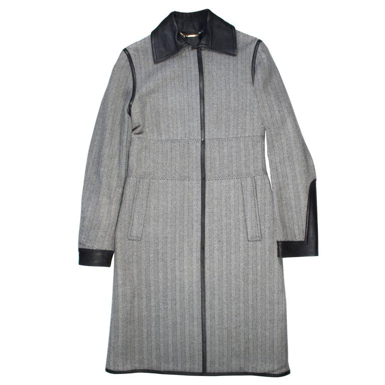 Gucci Coat - Long Trench - 6 - 38 - Black White Wool Leather
