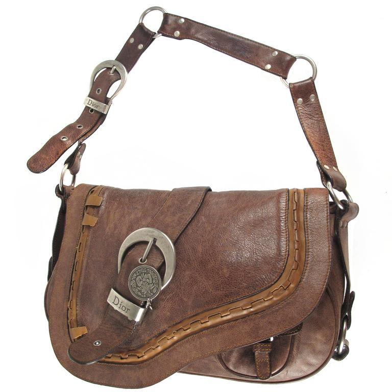 Christian Dior Saddle Bag Brown Leather Silver Coin