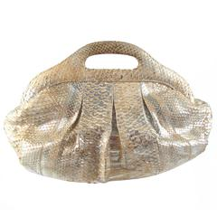 Nancy Gonzalez Python Cut Out Gold Handbag Metallic Leather Snakeskin Clutch Bag