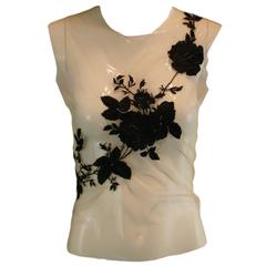 """F/W 1997 """"It's a Jungle Out There"""" Alexander McQueen Embroidered Sheer Mesh Top"""