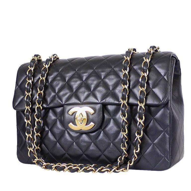 Vintage Chanel Lambskin Jumbo Classic Flap Bag XL Black at 1stdibs 46ced10ecc