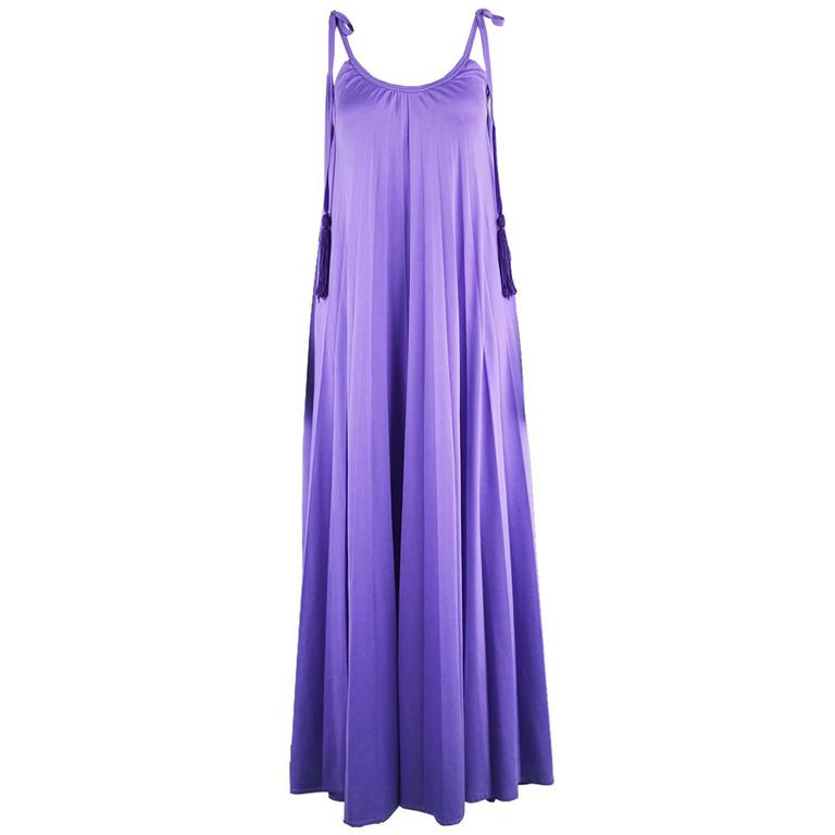 Frank Usher Purple Pleated Jersey Goddess Evening Gown, 1970s