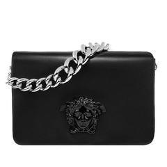 New VERSACE Black Nappa Leather Palazzo Shoulder Bag