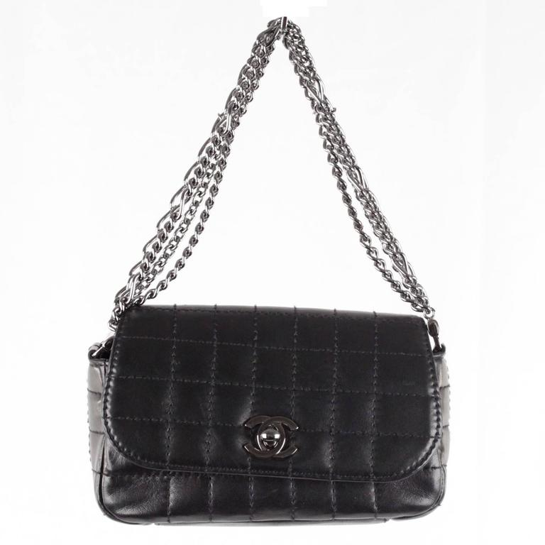 CHANEL Black Square Quilted Leather MINI Flap HANDBAG Multi Chain ...