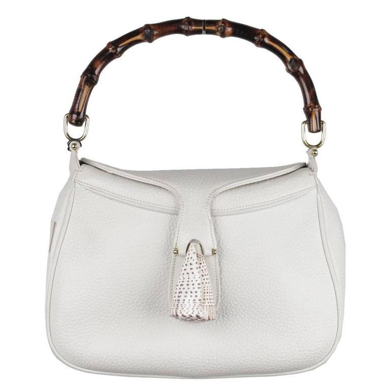GUCCI Vintage RARE White Leather SEA SHELL HANDBAG Bamboo Bag For Sale