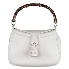 Gucci Vintage White Leather Sea Shell Bamboo Handbag