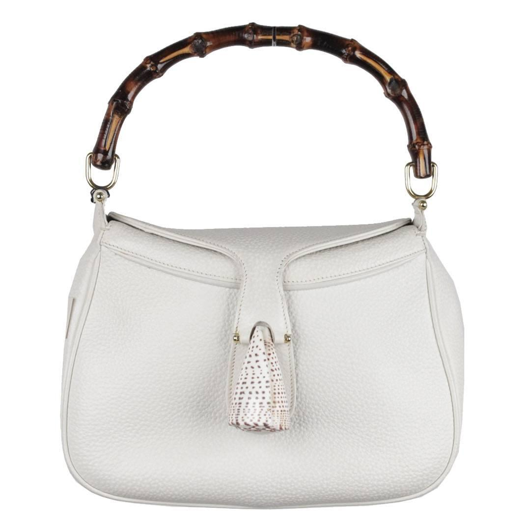 gucci vintage. gucci vintage rare white leather sea shell handbag bamboo bag for sale at 1stdibs gucci