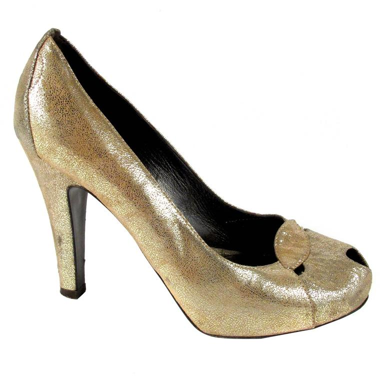 fendi heels us 6 5 36 5 gold metallic peep toe pumps