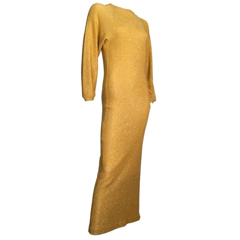Bill blass Vintage 1970s Metallic Gold Maxi Ribbed Knit Dress  1