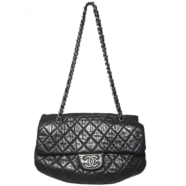 Chanel Black Quilted Distressed Leather Classic Flap Shoulder Bag 1