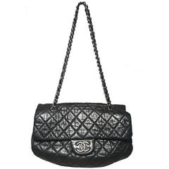 Chanel Black Quilted Distressed Leather Classic Flap Shoulder Bag
