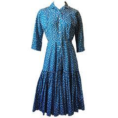 Horrockses Blue white Polka Dot Cotton 1950s Dropped Waist Dress