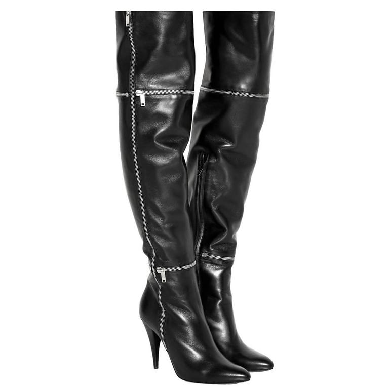 Saint Laurent NEW Black Leather Zipper Over the Knee Heels Boots in Box For Sale