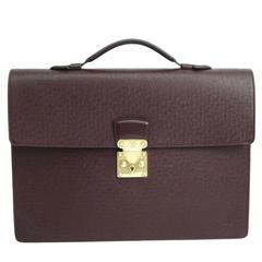 Louis Vuitton Brown Leather Gold Slide Lock Men's Briefcase Attache Business Bag