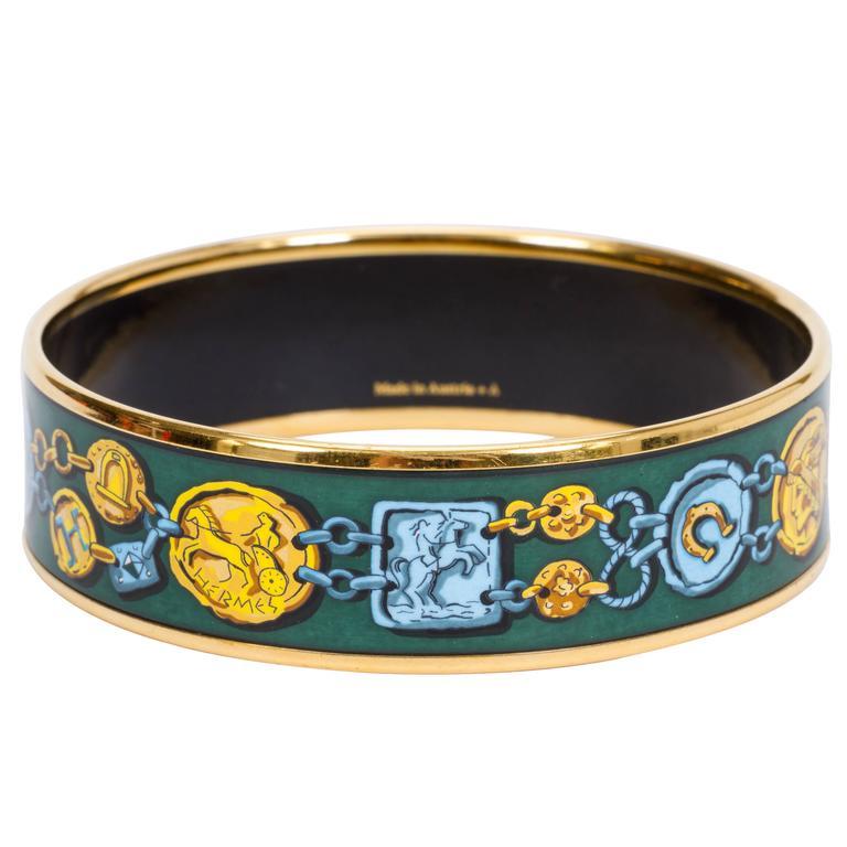 Hermès Green Coins Enamel Bracelet MM For Sale