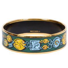 Hermès Green Coins Enamel Bracelet MM