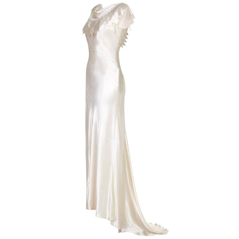 1930s Ivory Satin Wedding Dress with Cowl Neck and Beading at 1stdibs