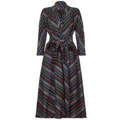 1940s Black Striped Hostess Dress Coat