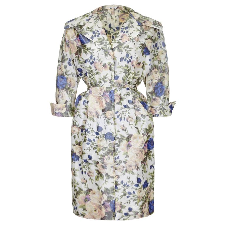 1950s Floral Taffeta Silk Couture New Look Style Dress