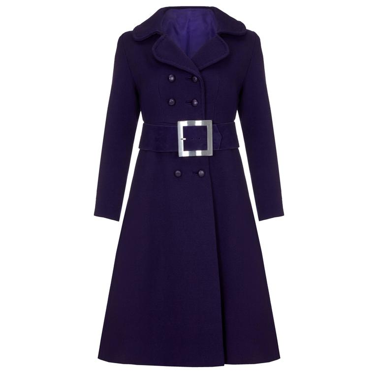 1960s Haute Couture Space Age Purple Wool Coat  1
