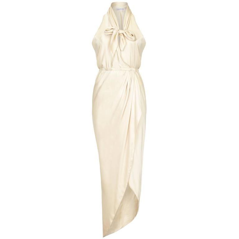 1970s Cream Silk Halston Halterneck Dress 1