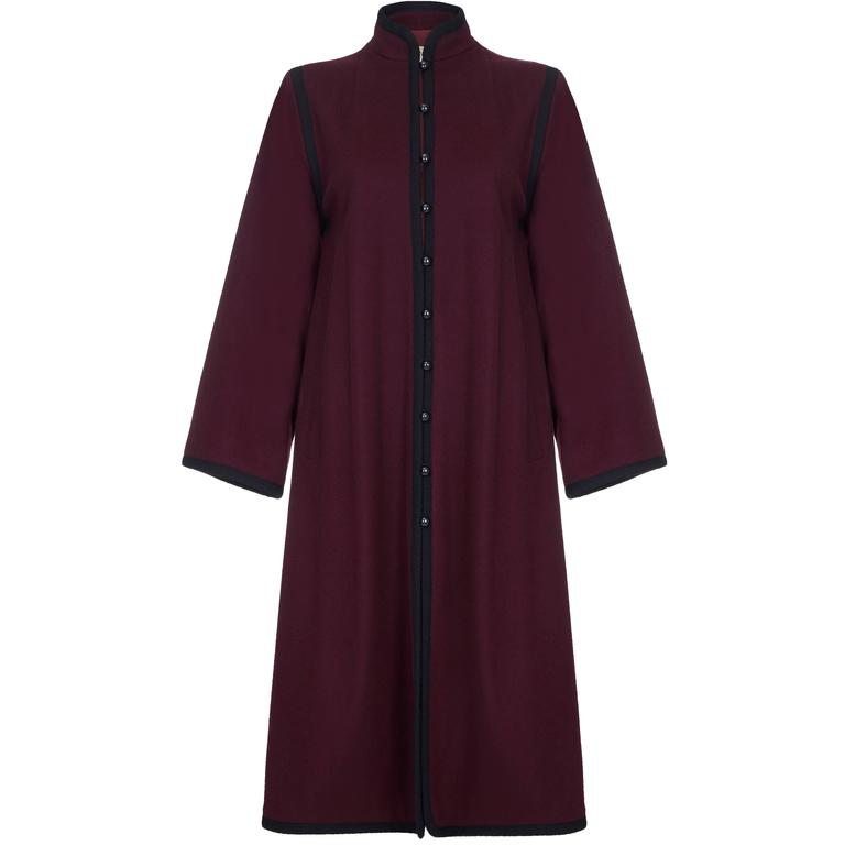 1970s YSL Yves Saint Laurent Burgundy Wool Russian Collection Coat 1