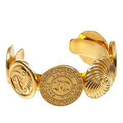 1980s Chanel Medallion Cuff Bracelet