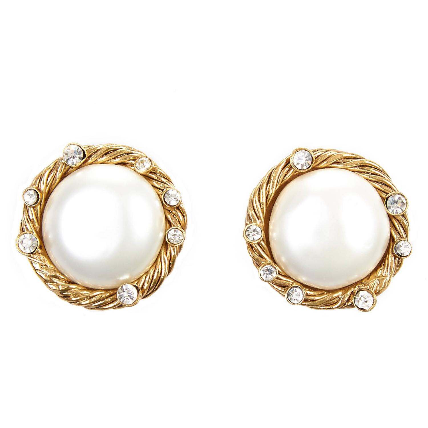 1990s chanel pearl and diamante earrings for sale at 1stdibs