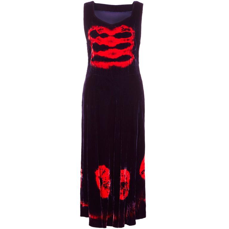1970s Purple & Red Velvet Tie-Dye Dress 1