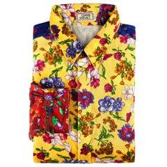 GIANNI VERSACE c.1990's ColorBlock Floral Patchwork Velvet Button Down Shirt