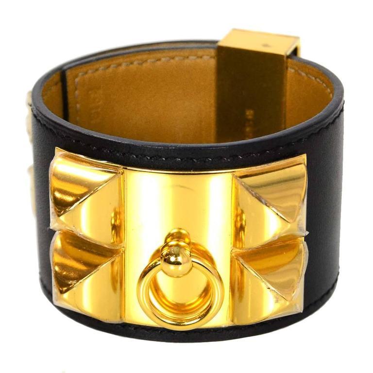 Hermes Black & Gold Collier de Chien CDC Cuff Bracelet sz S For Sale