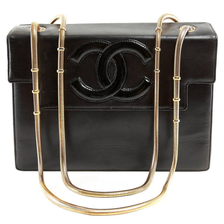 Chanel Vintage Black Leather Snake Chain Bag 1