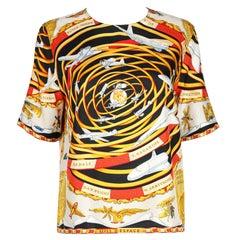 """HERMES c.1990's """"Reves D'espace"""" Airplane Print Silk Short Sleeve Blouse Top"""
