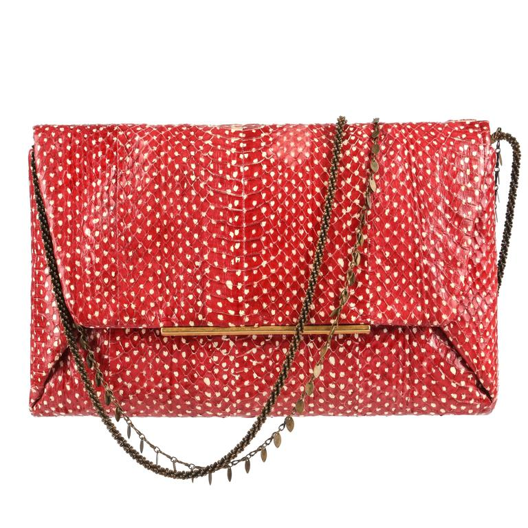 "LANVIN ""Mai Tai"" Red Genuine Python Snakeskin Envelope Clutch Handbag Purse"